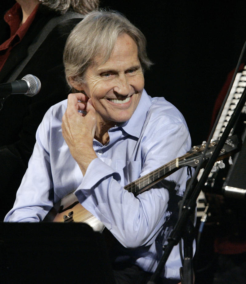 """FILE - In this Dec. 3, 2007 file photo, musician Levon Helm appears on the new """"Imus in the Morning"""" program at New York. Friends and fans of Helm are gathering at his Woodstock home Thursday, April 26, 2012 to say farewell to the legendary singer and drummer for The Band, who died of cancer on April 19. Thursday's public memorial is being staged at the place where Helm held his Saturday night Midnight Ramble barn concerts in New York's Hudson Valley. After a private funeral Friday, Helm will be buried in Woodstock Cemetery next to Rick Danko, The Band's singer and bassist who died in 1999. (AP Photo/Richard Drew, File)"""