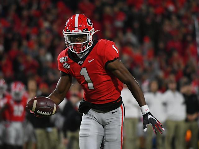 "<a class=""link rapid-noclick-resp"" href=""/ncaaf/players/301997/"" data-ylk=""slk:George Pickens"">George Pickens</a> ends the season as Georgia's leading receiver. (Photo by Jeffrey Vest/Icon Sportswire via Getty Images)"