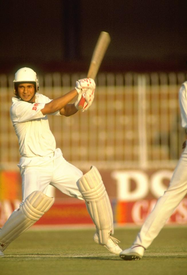 Oct 1989:  Sachin Tendulkar of India in action during a match against Pakistan in Lahore, Pakistan. \ Mandatory Credit: Ben  Radford/Allsport