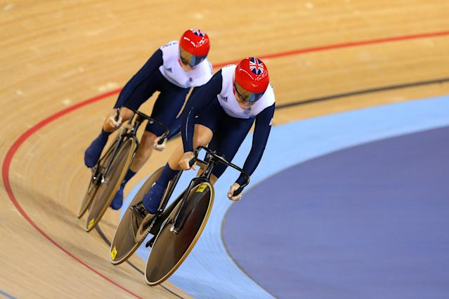 LONDON, ENGLAND - AUGUST 02: Jessica Varnish (front) and Victoria Pendleton of Great Britain compete during the Women's Sprint Track Cycling Qualifying on Day 6 of the London 2012 Olympic Games at Velodrome on August 2, 2012 in London, England. (Photo by Cameron Spencer/Getty Images)