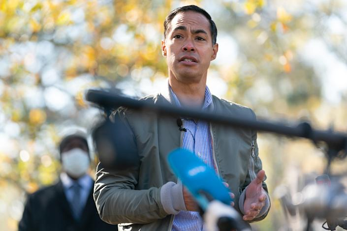 Julián Castro, former secretary of Housing and Urban Development, speaks at a campaign event with Democratic U.S. Senate candidate Raphael Warnock on December 8, 2020 in Atlanta, Georgia. (Photo by Elijah Nouvelage/Getty Images)
