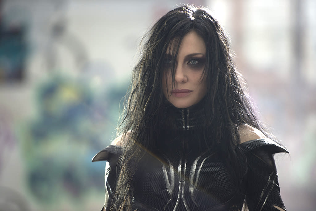 "<p>Cate Blanchett plays the villain of the piece, Hela, the Asgardian goddess of death, <a rel=""nofollow"" href=""https://www.yahoo.com/movies/thor-ragnarok-cate-blanchett-took-inspiration-from-cosplayers-for-helas-look-123047685.html"">whose emo look is inspired by cosplayers</a>. (Photo: Marvel) </p>"