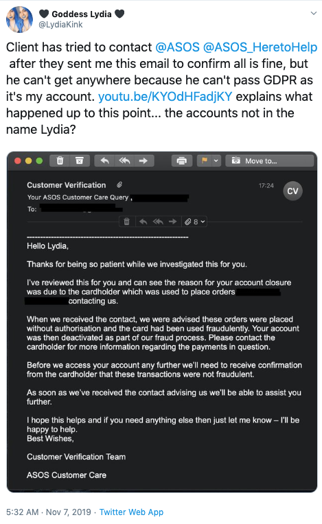 A sex worked alleges that online retailer ASOS has 'banned' her account due to her occupation. Photo: Twitter/lydiakink.