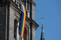 This church in Vienna's Breitenfeld neighbourhood is among those flying the rainbow flag