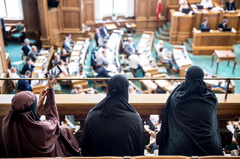 Women wearing niqab garments sat in the audience as the Danish parliament passed the ban against full-face veils in public (AFP Photo/Mads Claus Rasmussen)