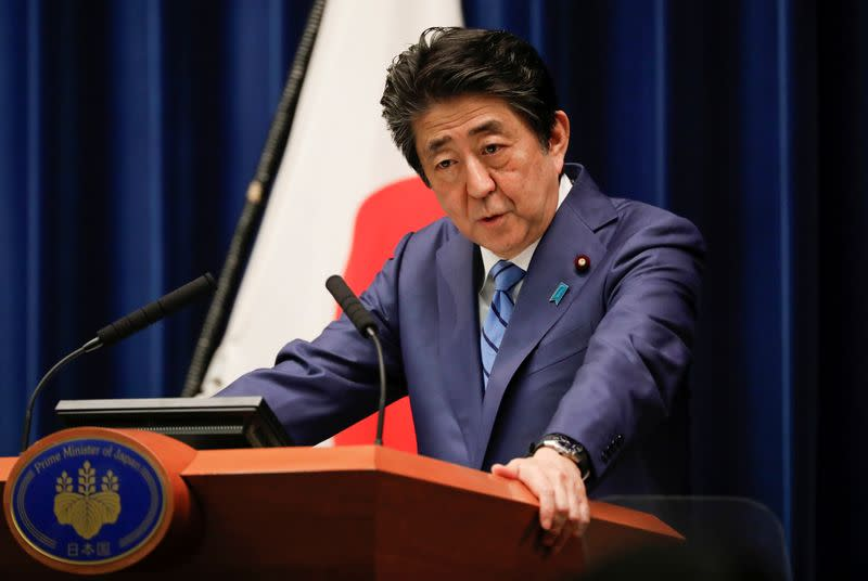 Japan's Prime Minister Shinzo Abe speaks during a news conference on Japan's response to the coronavirus outbreak at his official residence in Tokyo