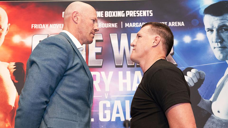 Barry Hall and Paul Gallen will square off in the battle of the Aussie footy codes.