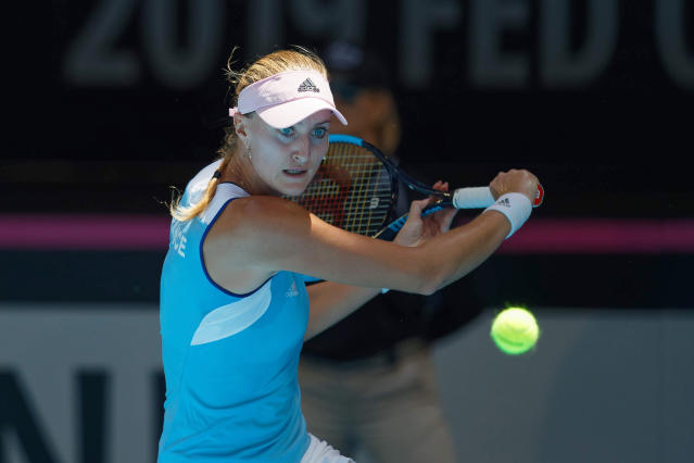 France's Kristina Mladenovic plays a shot against Australia's Ajla Tomljanovic during their Fed Cup tennis final in Perth, Australia, Saturday, Nov. 9, 2019. (AP Photo/Trevor Collens)