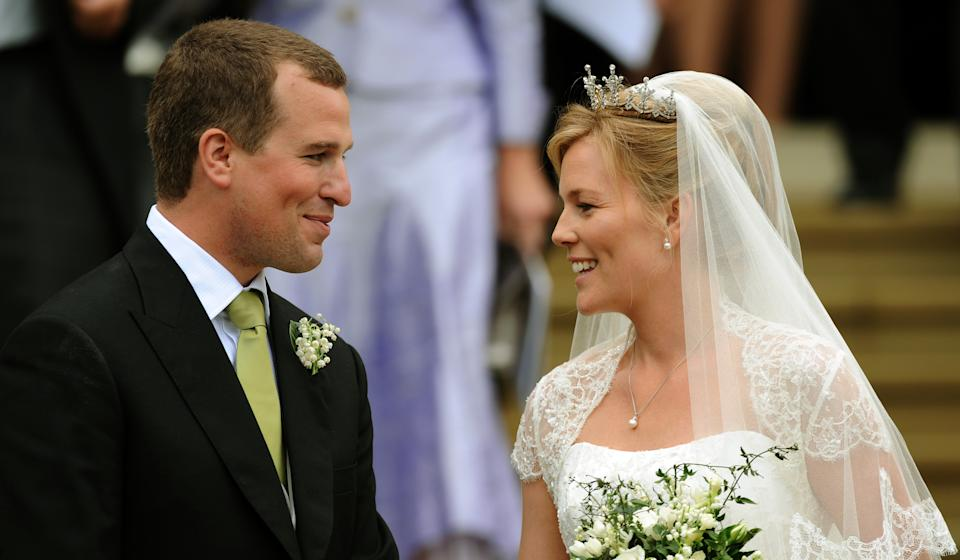 WINDSOR - MAY 17:  Bride and groom, Autumn Kelly and Peter Phillips after their wedding ceremony at St George's Chapel, in Windsor Castle on May 17, 2008 in Windsor, England.    (Photo by Anwar Hussein/WireImage)