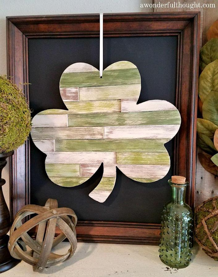 """<p>This shabby chic shamrock may look difficult to create, but anyone with some carpentry skills and a packet of shims should do just fine.</p><p><strong>Get the tutorial at <a href=""""https://awonderfulthought.com/diy-wood-shim-shamrock/"""" rel=""""nofollow noopener"""" target=""""_blank"""" data-ylk=""""slk:A Wonderful Thought"""" class=""""link rapid-noclick-resp"""">A Wonderful Thought</a>.</strong></p><p><a class=""""link rapid-noclick-resp"""" href=""""https://go.redirectingat.com?id=74968X1596630&url=https%3A%2F%2Fwww.walmart.com%2Fsearch%2F%3Fquery%3Dwood%2Bshims&sref=https%3A%2F%2Fwww.thepioneerwoman.com%2Fhome-lifestyle%2Fcrafts-diy%2Fg34931626%2Fst-patricks-day-decorations%2F"""" rel=""""nofollow noopener"""" target=""""_blank"""" data-ylk=""""slk:SHOP WOOD SHIMS"""">SHOP WOOD SHIMS</a><br></p>"""