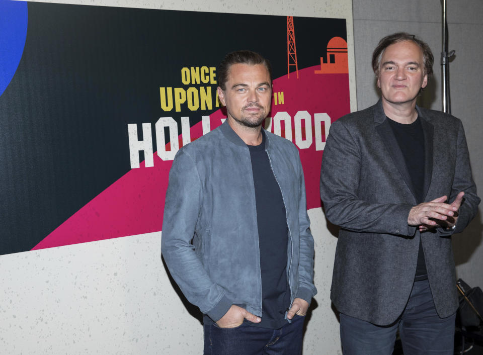 Leonardo DiCaprio, left, and Quentin Tarantino attend CinemaCon at The Colosseum at Caesars, Monday April 23, 2018, in Las Vegas. (Photo by Eric Jamison/Invision/AP)