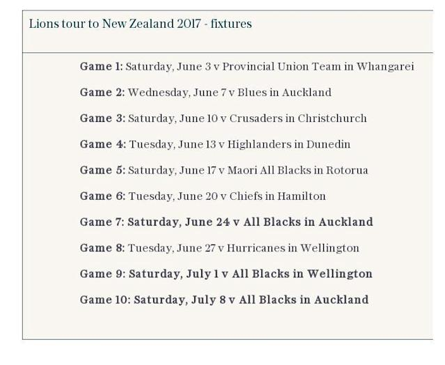 Lions tour to New Zealand 2017 - fixtures