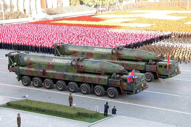 Missiles during a mass military parade at Kim Il-Sung square in Pyongyang. North Korea was marking the 70th anniversary of its ruling Workers' Party