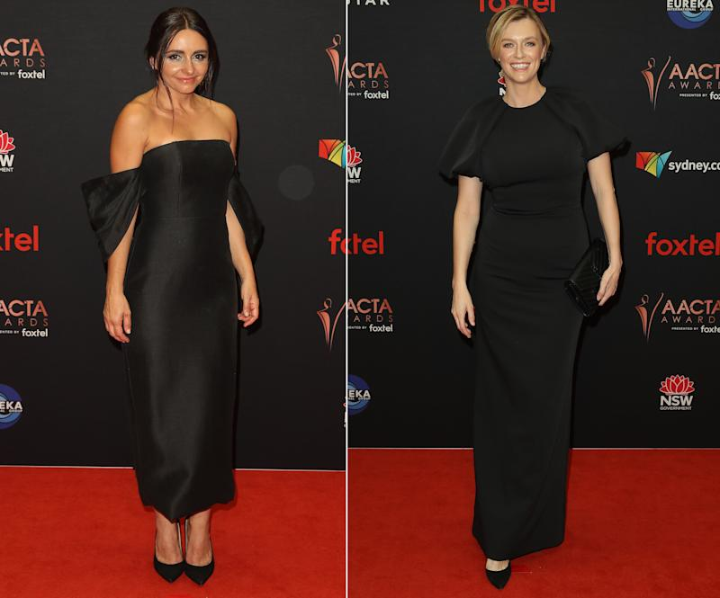 Pia Miranda (pictured left) and Gracie Otto (pictured right) dressed in black on the AACTAs red carpet