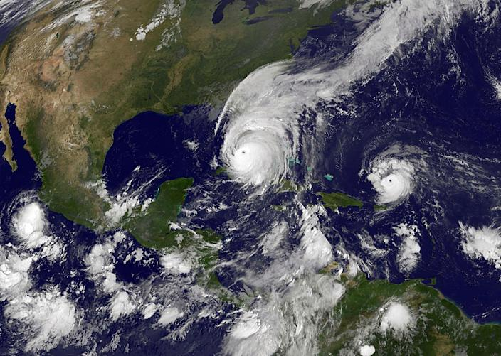 <p>SEPT. 10, 2017 – A NOAA-NASA GOES satellite shows Hurricane Irma as it makes landfall on the Florida coast as a category 4 storm as Tropical Storm Jose (R) moves west in the Atlantic Ocean taken at 11:45 UTC on September 10, 2017. As Irma heads up Florida's west coast its leaving hundreds of thousands of residents without power as more than 100,000 people have taken refuge in shelters and millions have evacuated the area. (Photo: NOAA-NASA GOES Project via Getty Images) </p>