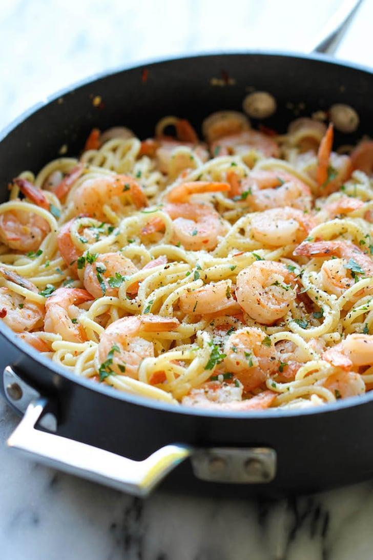 """<p>You won't find a recipe much faster (or easier) than <a href=""""http://damndelicious.net/2014/03/28/shrimp-scampi/"""" class=""""link rapid-noclick-resp"""" rel=""""nofollow noopener"""" target=""""_blank"""" data-ylk=""""slk:shrimp scampi"""">shrimp scampi</a>; if you start with prepeeled shrimp, it can come together in as little as 15 minutes.</p>"""