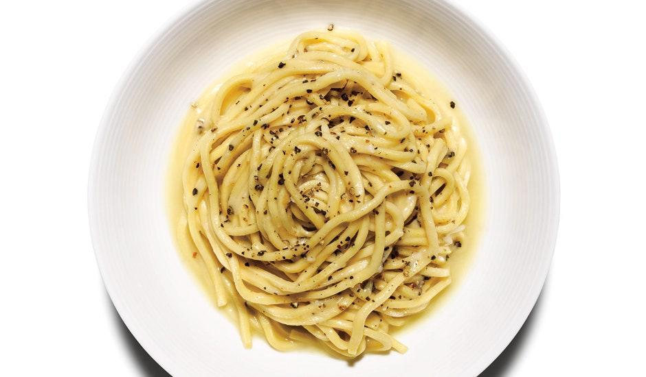 """Literally """"cheese and pepper"""", this minimalist cacio e pepe recipe is like a stripped-down mac and cheese. <a href=""""https://www.bonappetit.com/recipe/cacio-e-pepe?mbid=synd_yahoo_rss"""" rel=""""nofollow noopener"""" target=""""_blank"""" data-ylk=""""slk:See recipe."""" class=""""link rapid-noclick-resp"""">See recipe.</a>"""
