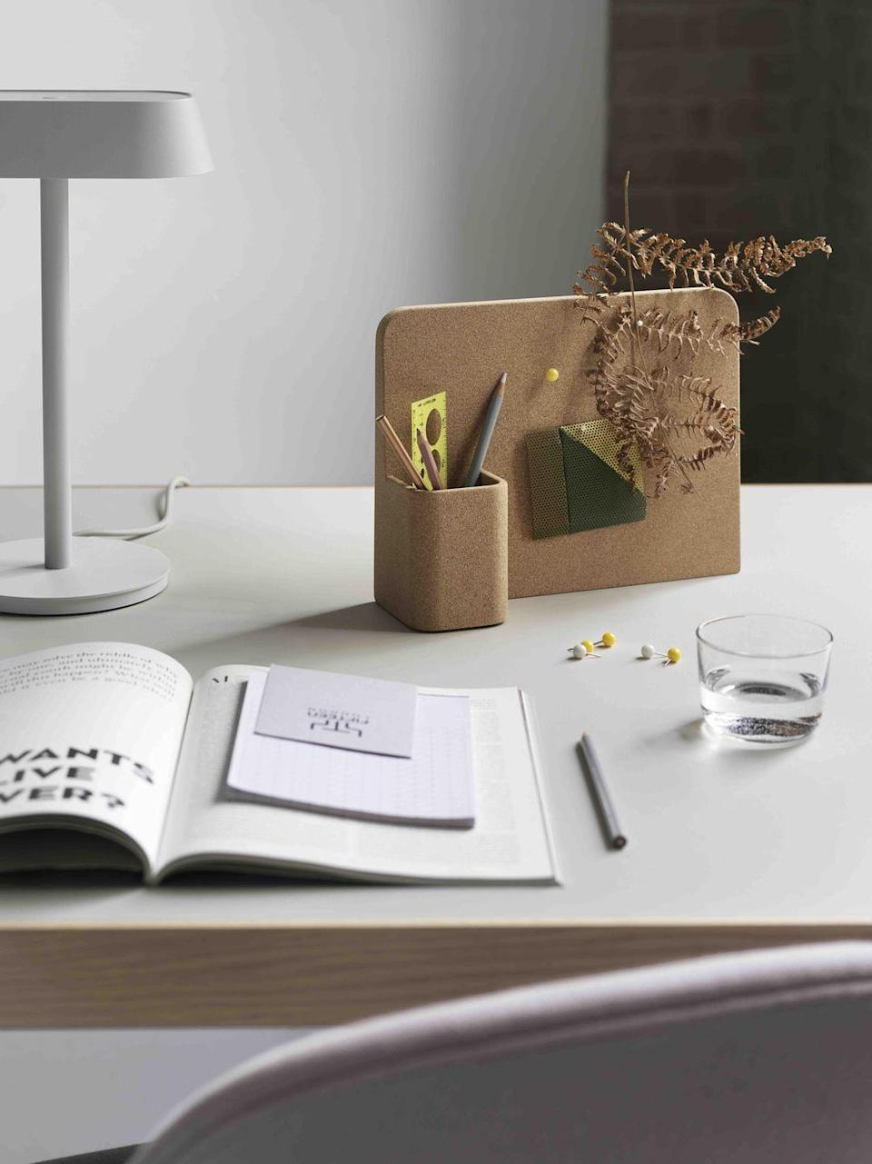 """<p>Muuto's 'Story' pinboard is an organiser and a creative canvas all in one. From notes and to-do lists to favourite photos, it allows you to change up your deskscape in an instant – providing inspiration and a handy outlet for procrastination. £59, <a href=""""https://www.finnishdesignshop.com/decoration-posters-memory-boards-memory-boards-story-pinboard-cork-p-35106.html?region=gb"""" rel=""""nofollow noopener"""" target=""""_blank"""" data-ylk=""""slk:finnishdesignshop.com"""" class=""""link rapid-noclick-resp"""">finnishdesignshop.com</a></p>"""