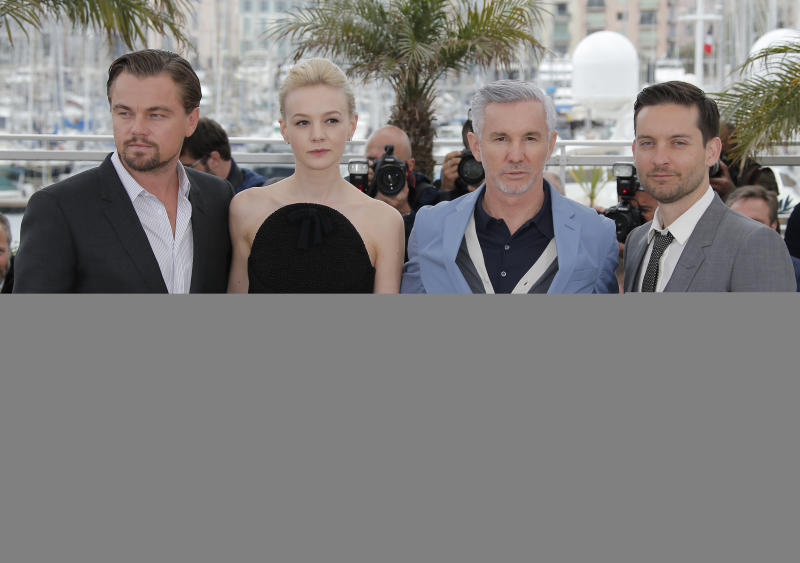 From left, actors Leonardo DiCaprio, Carey Mulligan, director Baz Luhrmann and actor Tobey Maguire pose for photographers during a photo call for the film The Great Gatsby at the 66th international film festival, in Cannes, southern France, Wednesday, May 15, 2013. (AP Photo/Lionel Cironneau)