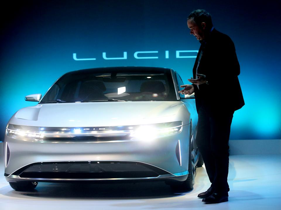 """Chief Technology Officer Peter Rawlinson, takes part in a press event for the new """"air"""" electric car by Lucid Motors Inc. on Wednesday, Dec. 14, 2016, in Fremont, Calif.   (Aric Crabb/Bay Area News Group) (Photo by MediaNews Group/Bay Area News via Getty Images)"""