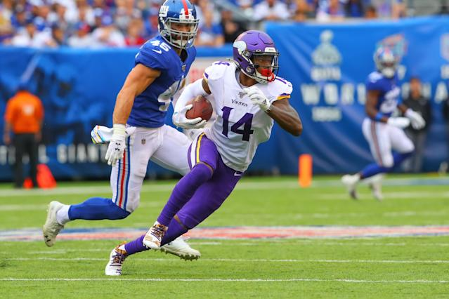 "<a class=""link rapid-noclick-resp"" href=""/nfl/players/28534/"" data-ylk=""slk:Stefon Diggs"">Stefon Diggs</a> clarifies that he was frustrated with losing, not with his role on the <a class=""link rapid-noclick-resp"" href=""/nfl/teams/minnesota/"" data-ylk=""slk:Vikings"">Vikings</a>. (Photo by Rich Graessle/Icon Sportswire via Getty Images)"