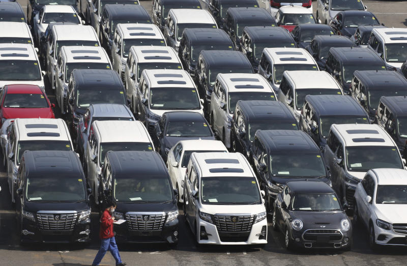 In this March 5, 2019, photo, Toyota Motor Corp. cars for export are parked at a port in Yokohama, near Tokyo. cars for export are parked at a port in Yokohama, near Tokyo. When U.S. President Donald Trump visits Japan, he'll be able to point to Tokyo's streets to drive home a sore point in trade relations between the allies: the absence of made-in-USA vehicles. While Trump complained repeatedly about the trade imbalance, especially in autos and auto parts - the Hondas and Toyotas on U.S. roads are a daily reminder. (AP Photo/Koji Sasahara)