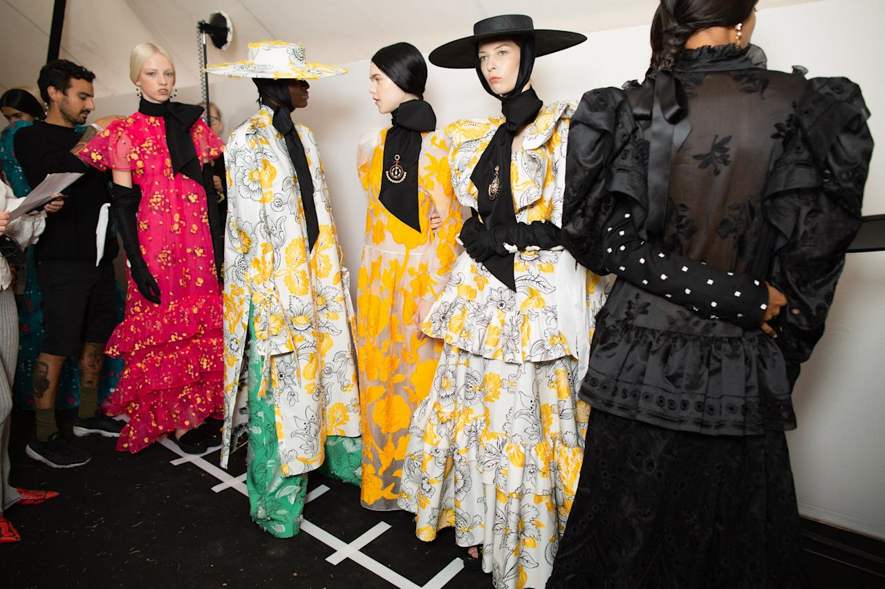 Backstage at the Erdem SS20 show during London Fashion Week on Monday, September 16th, 2019. Photograph by Serichai Traipoom for W Magazine.