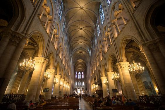 Inside view of the cathedral, in 2012. Its original structure was designed and built in the Gothic manner between 1163 and 1355 (Reuters)