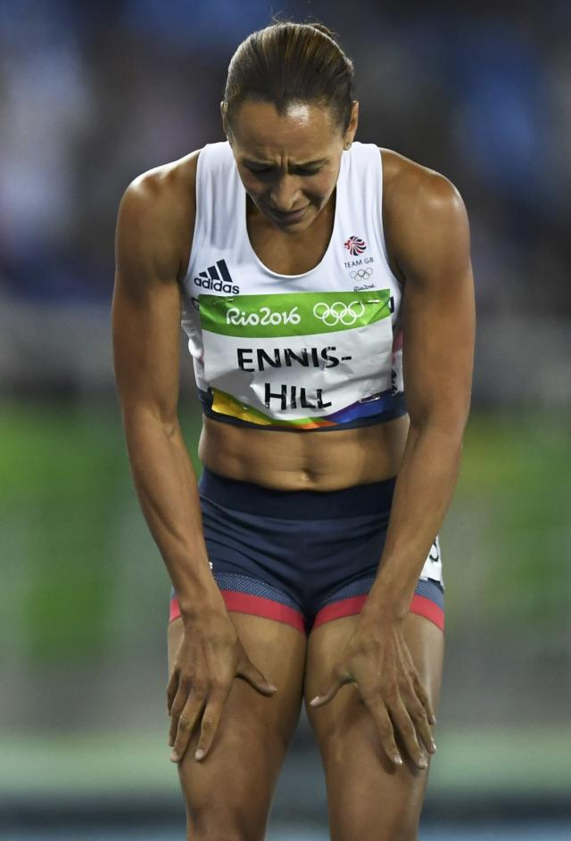 2016 Rio Olympics - Athletics - Final - Women's Heptathlon 800m - Olympic Stadium - Rio de Janeiro, Brazil - 13/08/2016. Jessica Ennis-Hill (GBR) of Britain reacts. REUTERS/Dylan Martinez FOR EDITORIAL USE ONLY. NOT FOR SALE FOR MARKETING OR ADVERTISING CAMPAIGNS.