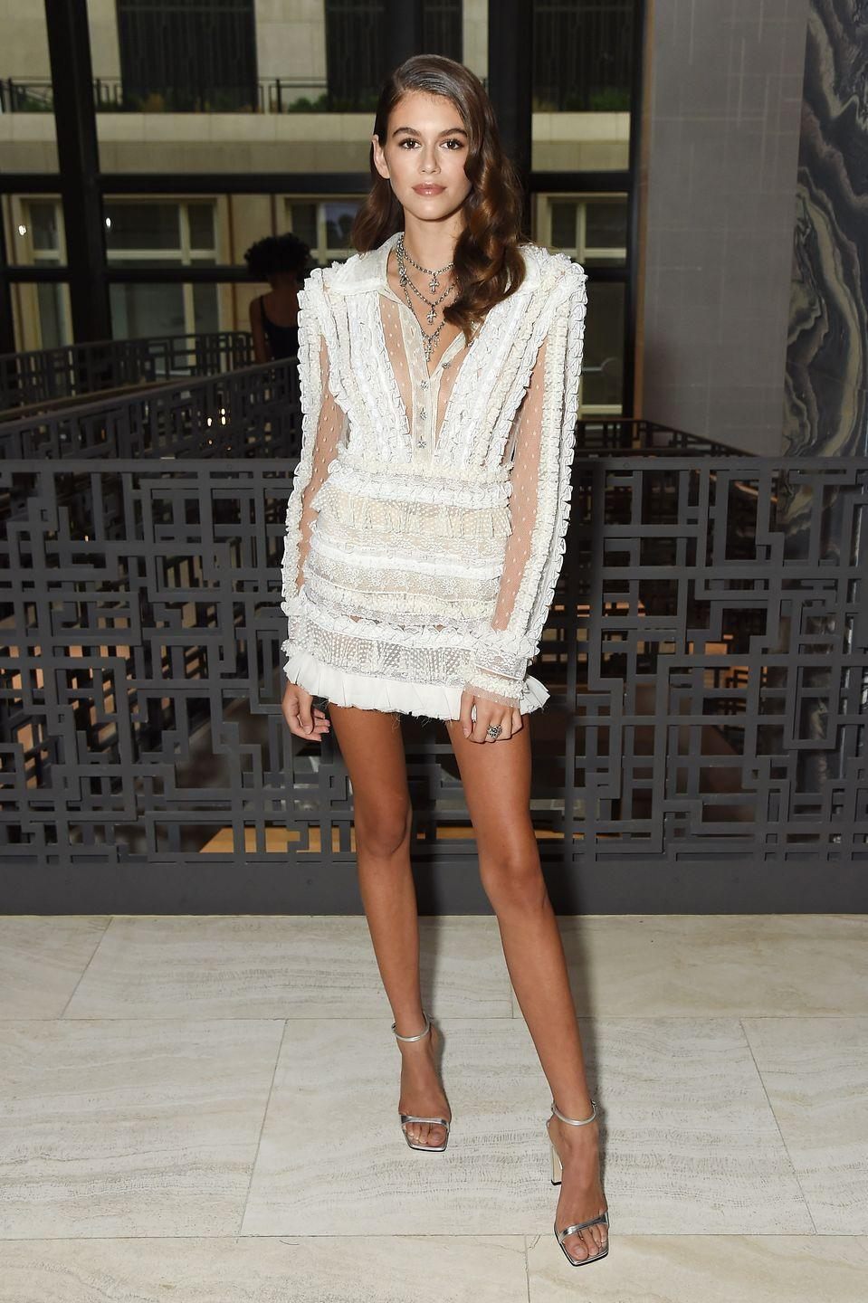 <p>Gerber looked dazzling in a white sleeved mini dress by Philosophy di Lorenzo Serafini for the Daily Front Row's Fashion Media Awards </p>
