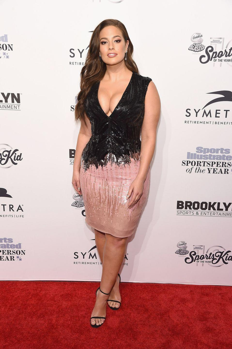 <p>Sports Illustrated Sportsperson of the year, 2016: This dress has the sequins, the millennial pink AND the cleavage.</p>