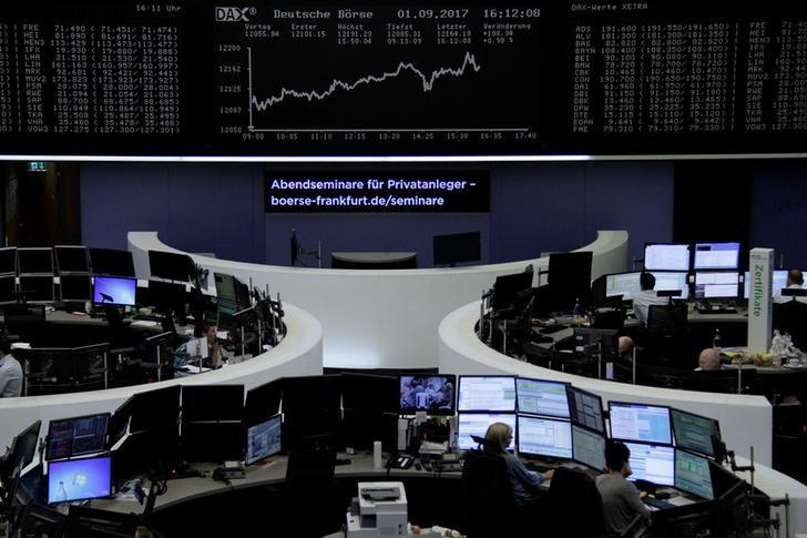 Traders work in front of the German share price index, DAX board, at the stock exchange in Frankfurt, Germany, September 1, 2017. REUTERS/Staff/Remote