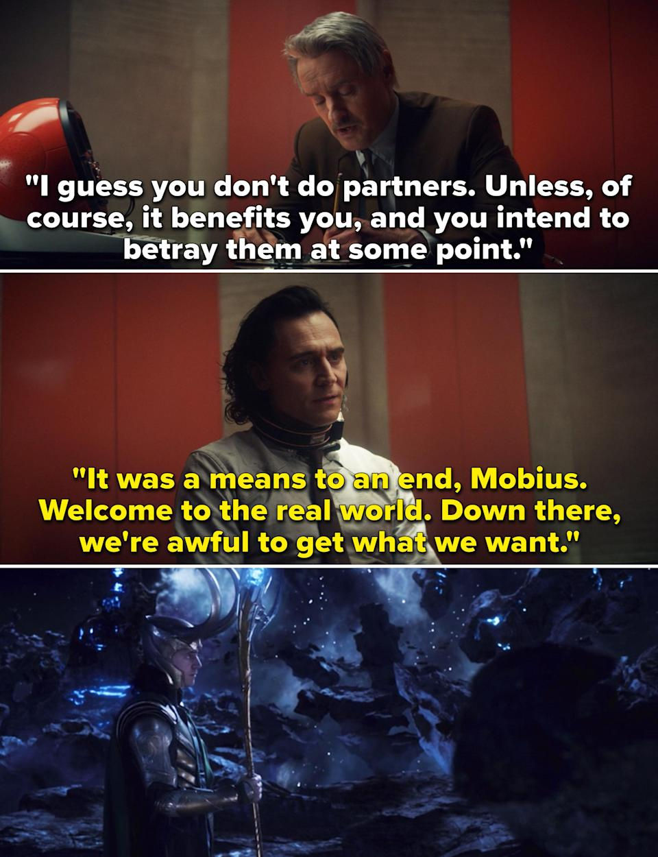 """Mobius telling Loki, """"I guess you don't do partners. Unless, of course, it benefits you, and you intend to betray them at some point"""""""