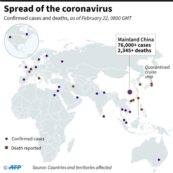 Countries or territories with confirmed cases and deaths from the new coronavirus