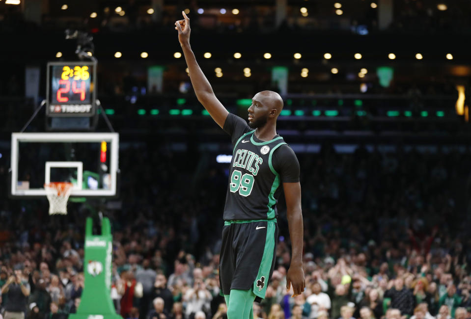 Celtics center Tacko Fall was a guest conductor for the Boston Pops Orchestra at their Holiday Pops show on Monday. (Omar Rawlings/Getty Images)