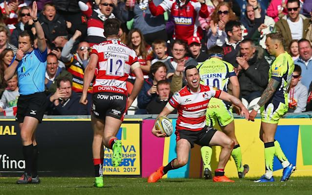 <span>Tom Marshall of Gloucester celebrates scoring his second try</span> <span>Credit: Getty Images </span>