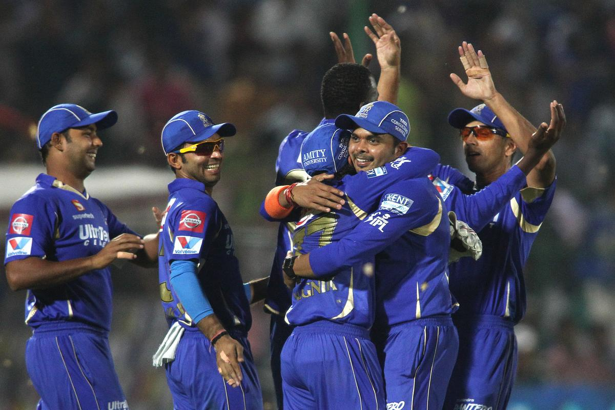 Dishant Yagnik of Rajasthan Royals is congratulated by Sree Sreesanth of Rajasthan Royals for taking the catch to get Yusuf Pathan of Kolkata Knight Riders wicket during match 8 of the the Pepsi Indian Premier League ( IPL) 2013 between The Rajasthan Royals and the Kolkata Knight Riders held at the Sawai Mansingh Stadium in Jaipur on the 8th April 2013..Photo by Shaun Roy-IPL-SPORTZPICS..Use of this image is subject to the terms and conditions as outlined by the BCCI. These terms can be found by following this link:..https://ec.yimg.com/ec?url=http%3a%2f%2fwww.sportzpics.co.za%2fimage%2fI0000SoRagM2cIEc&t=1495997274&sig=zzrc4Cw.AXR31P3XidYg4w--~C