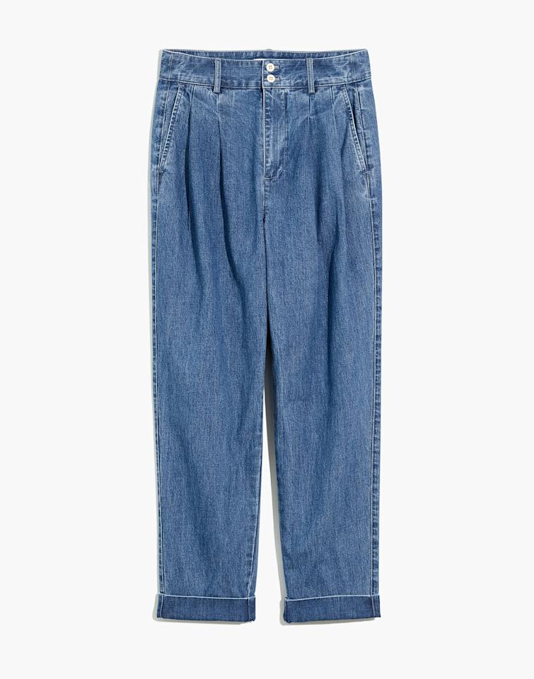"""<p>The front pleats of these <product href=""""https://www.madewell.com/pleated-taper-wide-leg-jeans-AJ223.html?dwvar_AJ223_color=DM4069&amp;cgid=apparel-jeans-wideleg#start=0"""" target=""""_blank"""" class=""""ga-track"""" data-ga-category=""""internal click"""" data-ga-label=""""https://www.madewell.com/pleated-taper-wide-leg-jeans-AJ223.html?dwvar_AJ223_color=DM4069&amp;cgid=apparel-jeans-wideleg#start=0"""" data-ga-action=""""body text link"""">Madewell Pleated Taper Wide-Leg Jeans</product> ($110) add the perfect dress up element for zoom calls or outdoor activities. I enjoy the stretchy, soft fabric of these pants.  </p>"""
