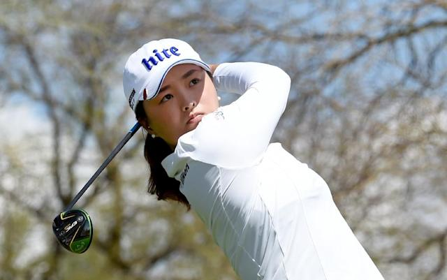 South Korea's Ko Jin-young tees off on the eighth hole on the way to victory in the LPGA Founders Cup in Phoenix, Arizona (AFP Photo/Steve DYKES)