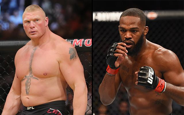 Brock Lesnar (L) and Jon Jones may meet in the Octagon, but it won't happen anytime soon. (Getty)