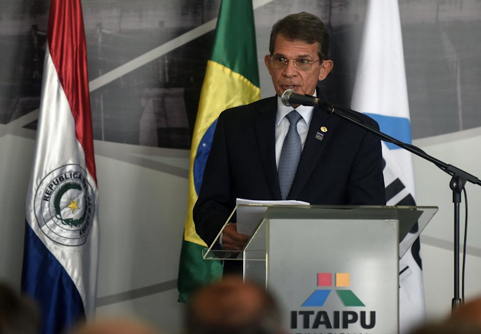 Former Brazilian Defense Minister and Army General Joaquim Silva e Luna, speaks during his inauguration as the new Director of the Brazilian side of Itaipu binational hydroelectric dam, on February 26, 2019 in Itaipu, Paraguay. (Photo by NORBERTO DUARTE / AFP)        (Photo credit should read NORBERTO DUARTE/AFP via Getty Images)