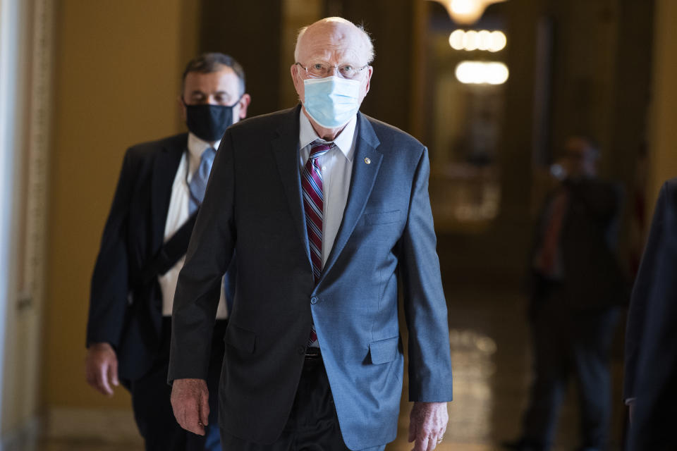 Sen. Patrick Leahy outside the chamber as the Senate debates the coronavirus relief package on Friday. (Tom Williams/CQ-Roll Call via Getty Images)