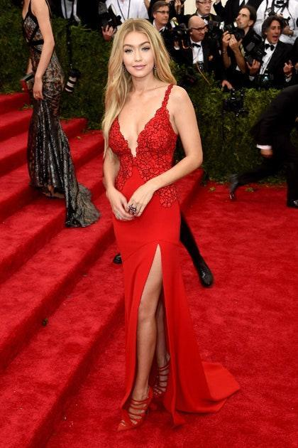 This outfit IS Gigi Hadid. Figure-hugging, tastefully embellished and all about the legs, this gown was made for our March cover girl and is a far cry from the little black dress she first stepped out onto the scene in. We have just one word: knockout.