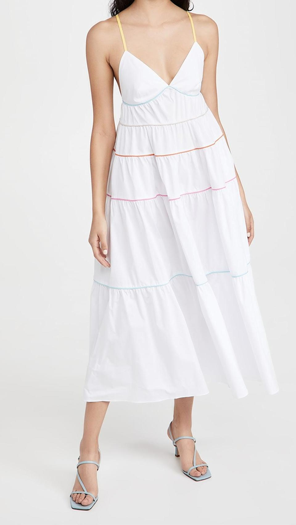 <p>This <span>Staud Cleo Dress</span> ($315) is adorable. The different color trims add something different to a classic silhouette.</p>