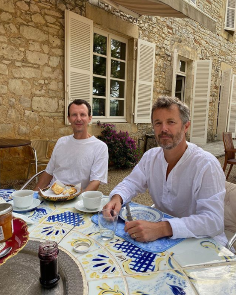 Prince Frederik and Prince Joachim eating breakfast at Château de Cayx in Cahors in southern France