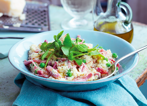 "<p>Who knew risotto didn't have to involve hours of sweaty stirring? This ham hock and pea cousotto has all the creaminess of a risotto without a stove in sight. Full recipe via <a rel=""nofollow"" href=""http://www.goodhousekeeping.co.uk/food/recipes/ham-hock-and-pea-cousotto"">Good Housekeeping</a>. </p>"