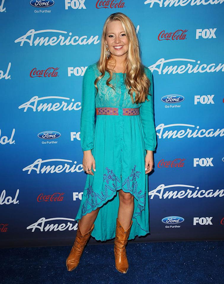 """Janelle Arthur attends the FOX """"American Idol"""" finalists party at The Grove on March 7, 2013 in Los Angeles, California."""