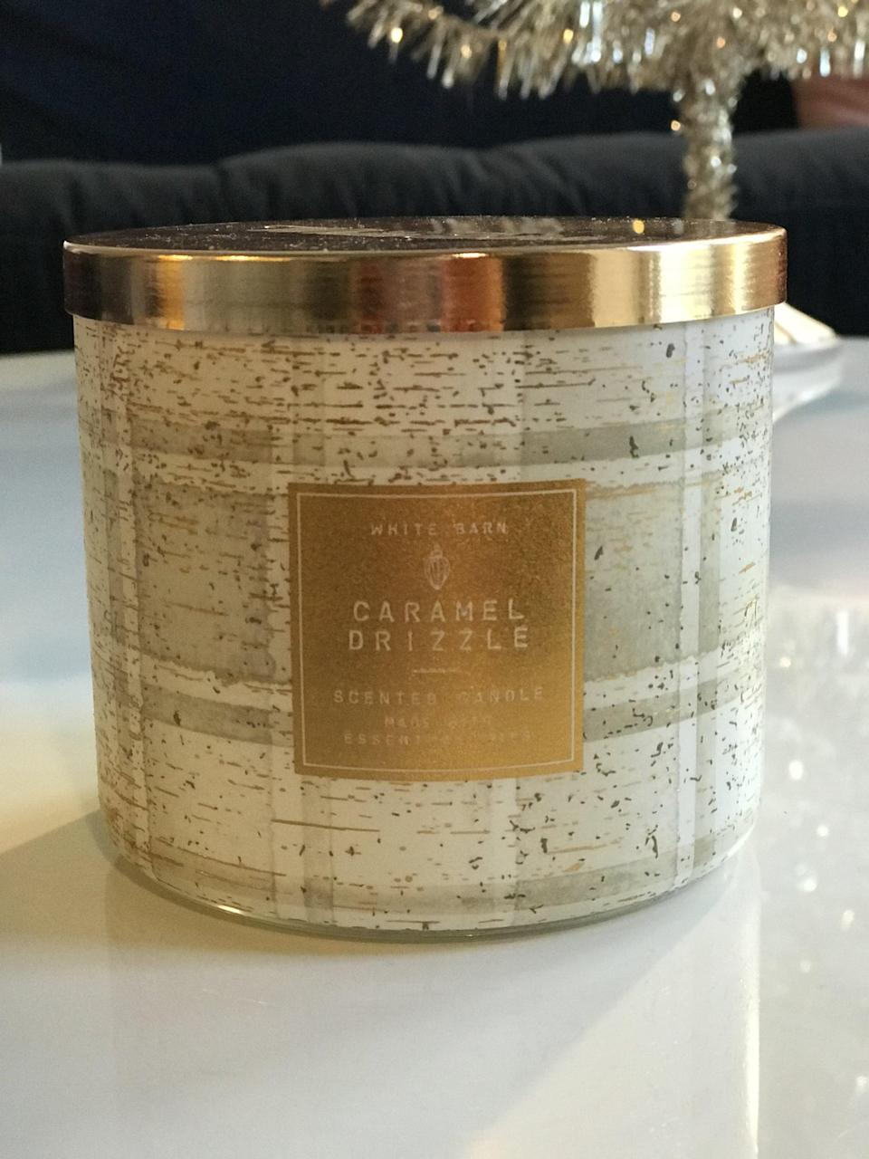 <p><span>Caramel Drizzle 3-Wick Candle</span> ($15, originally $25)</p> <p><strong>What It Smells Like:</strong> If you were to swirl hot caramel and melted butter together. </p>