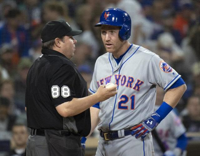 Todd Frazier's frustration with the umpires boiled over after the Mets loss to the Braves on Wednesday. (AP)