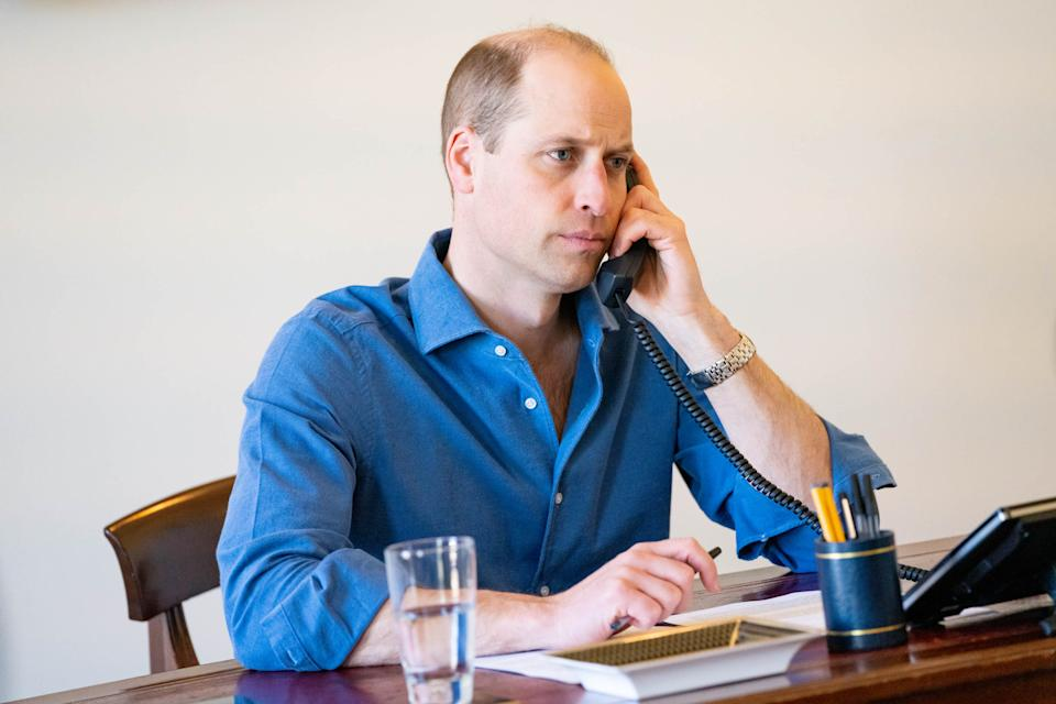 EMBARGOED TO 2230 TUESDAY APRIL 6 Undated handout photo issued by Kensington Palace of the Duke of Cambridge making a series of telephone calls to personally thank NHS staff and volunteers for their work through the pandemic. Issue date: Tuesday April 6, 2021.